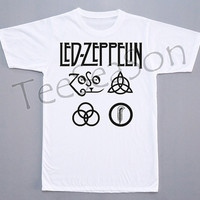 Led Zeppelin Shirt Led Zeppelin T-Shirt Punk Rock T-Shirt Short Sleeves Tee Shirt White T-Shirt Women T-Shirt Unisex Shirt (S, M, L, XL)