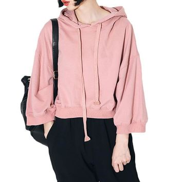 ca qiyif Solid All-match Drawstring Pullover