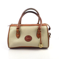 Dooney and Bourke Purse Vintage 1980s Off White Cream and Brown Leather Handbag