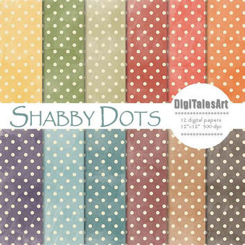 "Polka dot digital paper ""Shabby Dots"" digital clip art papers in blue, yellow, red, brown, purple, watercolor, shabby chic background"