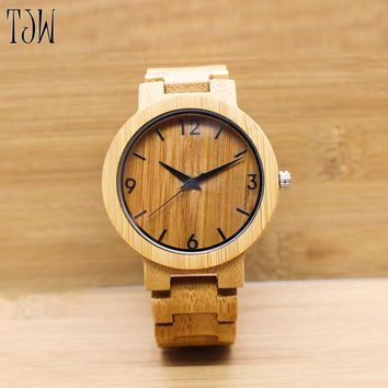 TJW 2017 Men's Bamboo Wooden Wristwatches With Genuine Leather Band Luxury Wood Watches new style Japan movement wooden