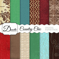 Instant Download-Country Chic Cottage Shabby Wood Texture Damask Flourish Stars Digital Scrapbooking Paper Pack Personal and Commercial Use