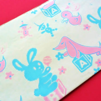Vintage Dachshund Weenie Dog Baby Shower Newborn Gift Wrapping Paper 30 x 20 Cute Duck Bunny Rabbit Building Blocks Toddler Gift Wrap 1960s