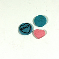 3 Conversation Heart Clay Cabochons