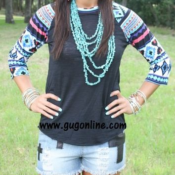 Wondering Eye Black Burnout Baseball Tee in Aztec