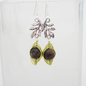 Tigers Eye Wire Wrapped Earrings, Gemstone Wire Wrapped Earrings, Brown Earrings
