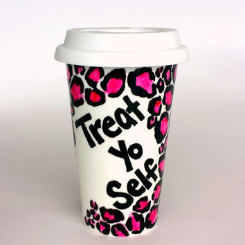 Ceramic Travel Mug: Treat Yo Self | Pink Leopard Print