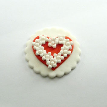 Sweet little Valentines Heart with White Flowers. Fondant Cupcake, Cake, Cookie Toppers Set of 12 (on dozen)