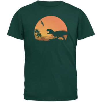 Jurassic Scape Forest Green Adult T-Shirt