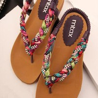 Colorful Braided Flat Sandals TQ060506 from topsales