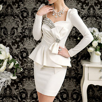 New Ladies Womens White Elegant Long sleeve Pencil Shift Peplum Dress Diamond