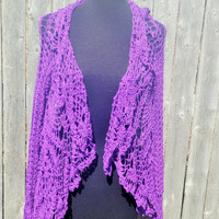 Purple crochet jacket, purple crochet cartigan sweater, FREE DOMESTIC SHIPPING