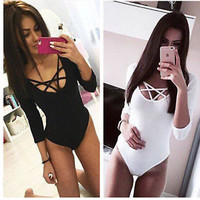 Sexy Women's Long Sleeve Stretch Bodysuit Ladies Blouse Body Leotard Top T-shirt