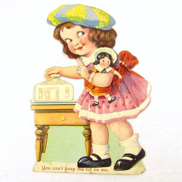 Germany Little Girl Dollie Covered Dish Die Cut Mechanical Valentine Card
