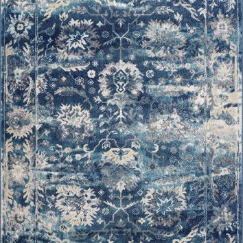 Lounge Distressed Area Rug | Vintage Rug for Living Room Rug | Large Blue Area Rug