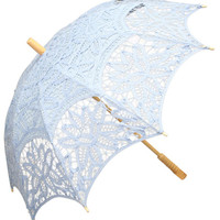 Battenberg Lace Parasol, Light Blue