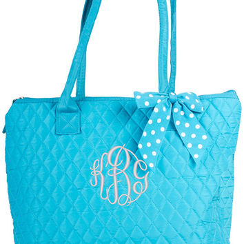 """Monogrammed Tote Bag, monogrammed with your name or initials. Great bag for your day in and out needs. Size: 16.5""""w x 13""""h x 5""""d"""