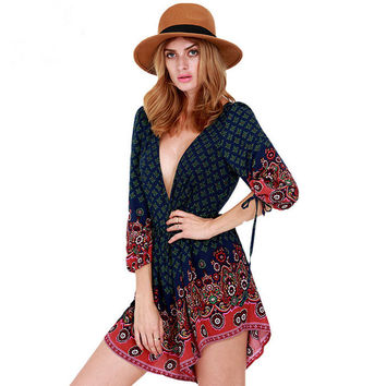 Summer Deep V Stylish Print Shorts Jumpsuit [6046236289]