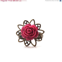Mothers Day Sale Dark Pink Rose Ring