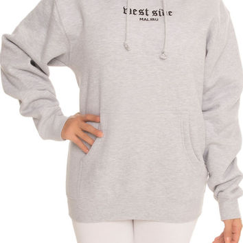 The West Side Malibu Embroidered Hoodie in Heather Gray