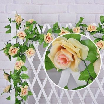 Fake Rose Rattan Wedding Party Wall Decor Artificial Flower