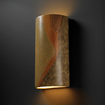 Justice Design Group CER1165WPATV Ambiance Verde Patina Really Big Cylinder Two-Light Outdoor Wall Sconce - (In FFF-Verde Patina(PATV))