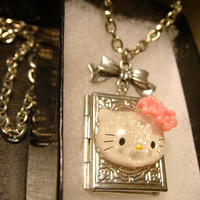 Hello Kitty Locket Necklace- Victorian Style Book Locket with Bow (1475)