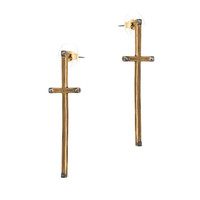 house of harlow - long cross earrings (gold) - House of Harlow 1960 | 80's Purple