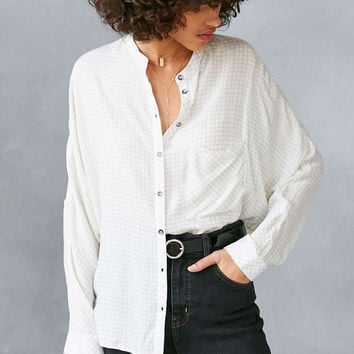 BDG Gridlock Band Collar Button-Down Shirt - Urban Outfitters