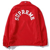 Supreme & Champion joint series UV protection zipper sports trench coat F-A-KSFZ Red