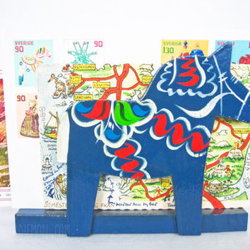 Vintage Dala Horse Letter Napkin Holder Hemslojd Snickerier Wooden Swedish Folk Art Sweden Wood Home Decor Christmas Hand Painted Dalahasten