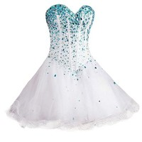 VILAVI A-line Sweetheart Strapless Short Tulle Crystal Sequin Graduation Dresses
