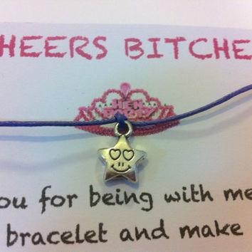 Hen night party personalised favour wish, friendship bracelet..cheers bitches, hen night, hen party,party favors