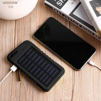 Wopow Solar power bank 8000 mah Waterproof portable Charger Dual USB External Charger Battery with 3 Light Mode for Outdoor
