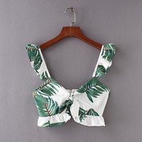 Tropical Print Crop Top