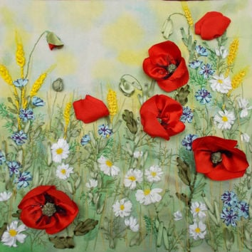 """paintings, embroidered satin ribbons """"flowers in the field"""", poppies, red flowers, meadow, handmade, bright flowers. Made to order"""