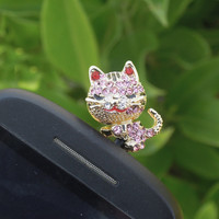 1PC Bling Crystal Lying Pink Cat Alloy Cell Phone Earphone Jack Anti dust Plug Charm for iPhone 4s,4g,5,5s,Samsung S4, Nokia HTC Kids Gift