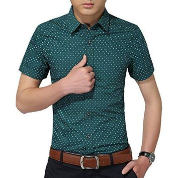 Mens Cotton Casual Shirt Slim Fit Short Sleeve Button Down Printed Plaid Dress Shirts