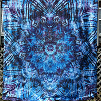 Giant trippy mandala tie dye tapestry or wall hanging in purple blue and black