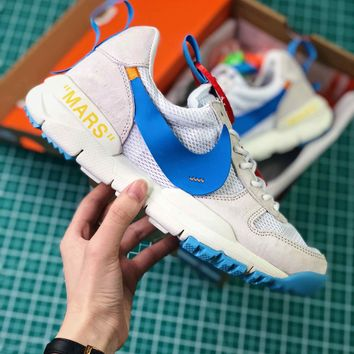 Off White X Tom Sachs X Nikecraft Mars Yar 2.0 White Blue Sport Running Shoes - Best Online Sale