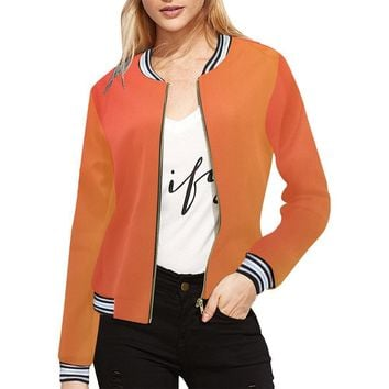 Phoenix Start Design 1 Women's All Over Print Horizontal Stripes Jacket