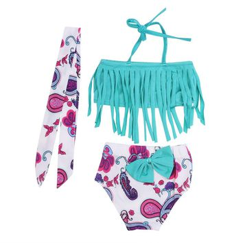 Summer Baby Girls Two Pieces Bikini Swimwear Tassels Tops Floral Briefs Swimming Suit Swimsuits Swimwear with Headband for Girls