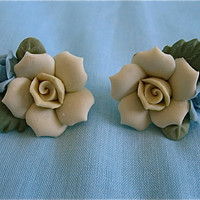 Vintage Porcelain Flower Earrings