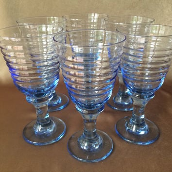 Libbey Blue Glassware, Rock Sharpe Sirrus, Beehive Style, Blue Pedestal, Water Ice Tea, Ice Blue Color, Vintage Wedding, Ribbed Blue Goblets