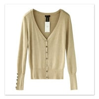 Solid Deep V-Neck Button Ribbed Knit Long Sleeves Top