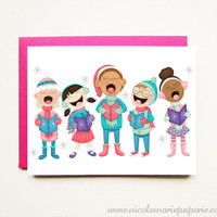 Christmas Carolers. Unique Holiday Card. Illustrated Card. Personalized Card.