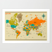 WORLD MAP Art Print by Jazzberry Blue