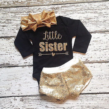 Little Sister bodysuit with Gold Glitter Sparkles Pregnancy announcement new baby coming home