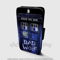 Bad Wolf Wallet iPhone Cases Tardis Dr Who Samsung Wallet Leather Phone Case