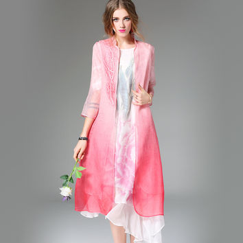 Spring Loose Casual Trees Embroidery Gradient Color Sunscreen Silk Trench Coats Women Asymmetric Coat Loose Long Cardigan S015